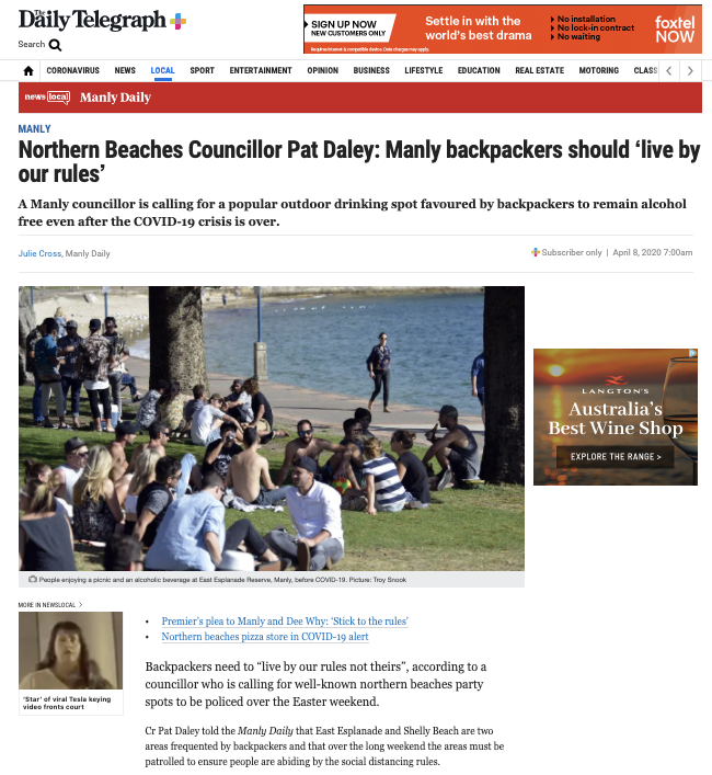 Councillor Pat Daley: Manly Backpackers Should 'live By